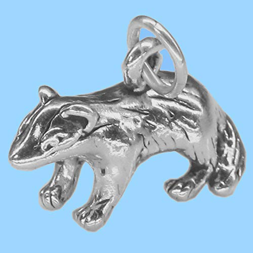 Badger Charm 3D Pendant Sterling Silver - Jewelry Making Supply by Charm Crazy