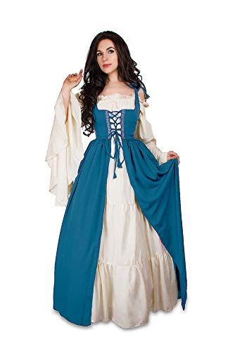 Mythic Renaissance Medieval Irish Costume Over Dress & Cream Chemise Set (L/XL, Jade)