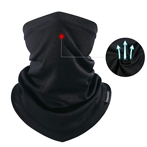 Wear Neck Scarves - THINDUST Summer Face Mask -Dust Sun UV Protection Neck Gaiter Outdoor Hiking & Motorcycling & Cycling ... (Thin-Short-1 Pack Black)