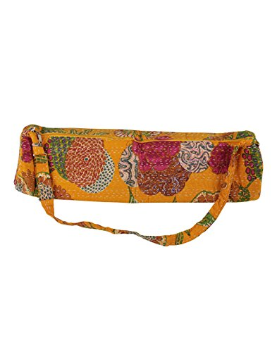Attractive Chrome Yellow  Pink Yoga Bag Women Kantha Work Yoga Mat Bag By Rajrang