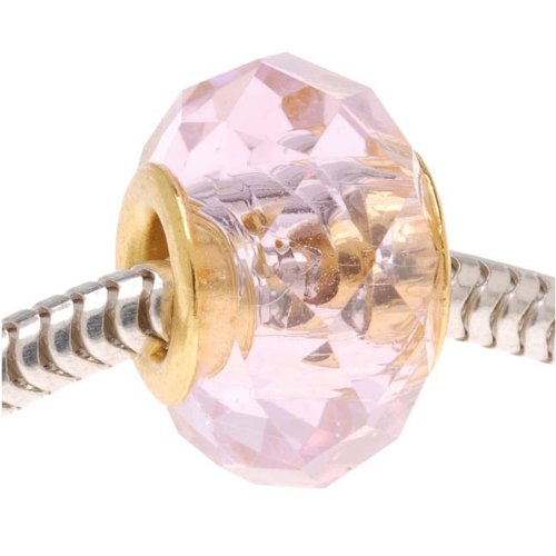 Faceted Glass European Style Large Hole Bead - 'Rose Pink' 14mm Gold Tone Grommet (1)