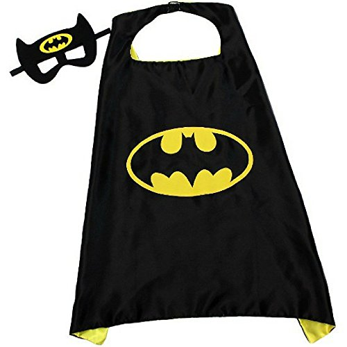 Batman Dress Up Kids (Super Hero Dress Up Play Costumes with Double Sided Satin Cape and Matching Felt Mask (Black and Yellow))