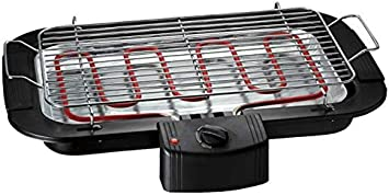 Bastilipo BBQ-2000 BBQ-2000-Barbacoa electrica de Mesa-Sin patas-2000W de Potencia y Parrilla de 47 x 35cm-Barbacoa sin Humo-Fácil de Limpiar-2 Niveles de Altura y Bandeja recoje Grasas, Negro
