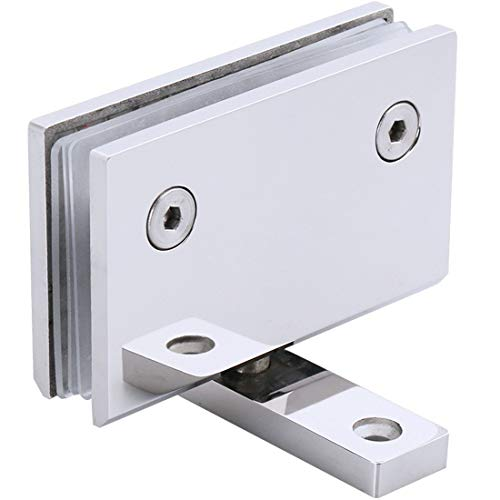 Ranbo Heavy Duty 90 Degree Glass Door Cupboard Showcase Cabinet Clamp Frameless Pivot Glass Shower Doors Hinge Replacement Parts Wall-to-Glass,304 Stainless Steel Polished Chrome (360 Degree)
