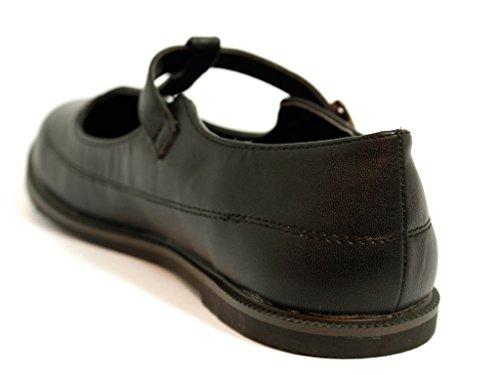 NEW WOMENS LADIES GIRLS FLAT BUCKLE T-BAR CUT OUT MARY JANE RETRO GEEK SCHOOL BROGUES SHOES SIZE 3 4 5 6 7 8 black matt IzK2cq