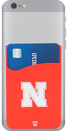 Nebraska Cornhuskers Adhesive Silicone Cell Phone Wallet/Card Holder for iPhone, Android, Samsung Galaxy, Most Smartphones
