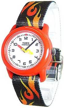 Timex Kids' T7B081 Analog Flames Elastic Fabric Strap Watch