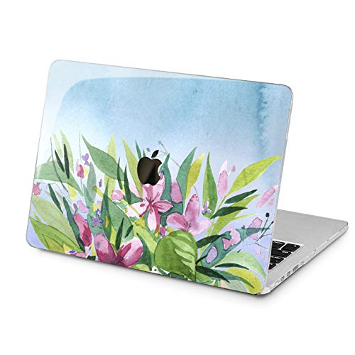 Lex Altern Hard Case for Apple MacBook Pro 15 Air 13 inch Mac Retina 12 11 2019 2018 2017 2016 2015 Watercolor Painted Pink Flowers Green Leaves Protective Laptop Cover Designed Touch Bar Print Women]()