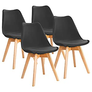 Furniwell Dining Chairs Mid Century Modern DSW Chair Upholstered Side Kitchen Chairs with Wood Leg and Soft Padded Cushion Shell Tulip Chairs For Kitchen, Dining, Bedroom, Living Room Set of 4 (Black)