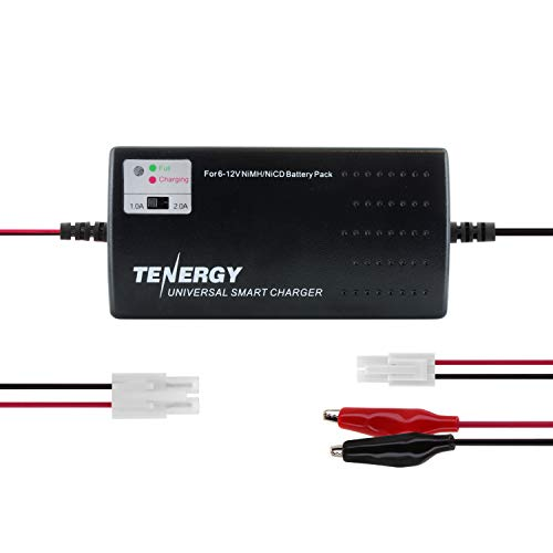 Tenergy Universal RC Battery Charger for NiMH/NiCd 6V-12V Battery Packs, Fast Charger for RC Car, Airsoft Batteries, Compatible with Standard Size Tamiya/Mini Tamiya/Alligator Clips Connectors (Best Rc Battery Charger)