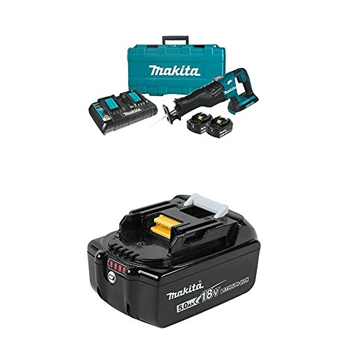 Makita XRJ06PT 18V X2 LXT Lithium-Ion (36V) Brushless Cordless Recipro Saw Kit (5.0Ah) with (2) BL1850B 18V LXT Lithium-Ion 5.0Ah Batteries