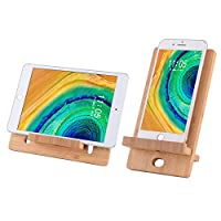 Cell Phone Stand-Bamboo Wooden Desktop Tablet Holder-Desktop Stand Holder Cradle for All iOS & Android Smartphone, Tablets, iPad, iPhone X XS Max XR (4-8 inch)