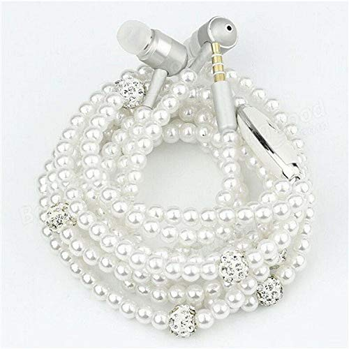 In-Ear Wired Pearl Necklace Universal 3.5mm Stereo Earphone Headset With Microphone - Earphones Earbuds - (white) - 1 x Thermometer hygrometer, 1 x Base