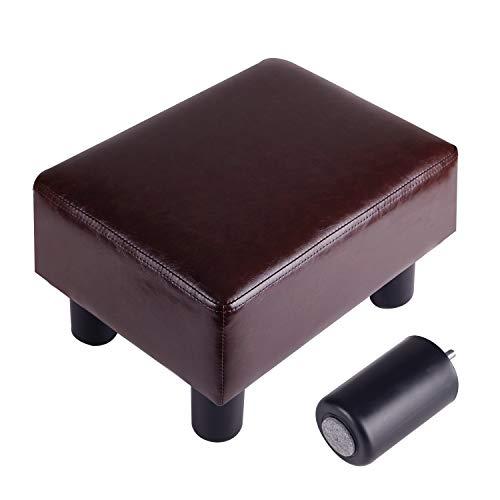 GRUNEN WOLKEN Footrest Small Ottoman Stool PU Faux Leather Modern Rectangle Seat Chair Footstool, Brow - Faux Leather Ottoman Footstool