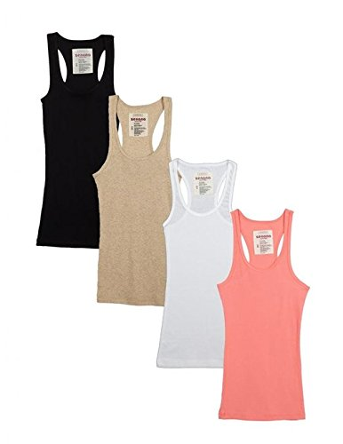 Rib Racerback Tank Top - Zenana Outfitters 4 Pack Womens Basic Ribbed Racerback Tank Top BLACK/WHITE/HBEIGE/CORAL L