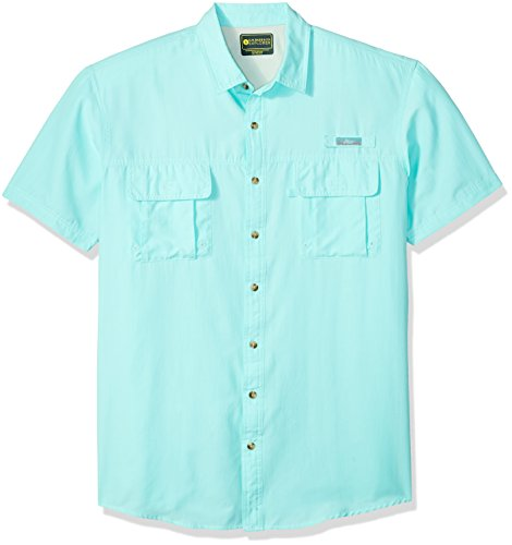 Explorer Mens (G.H. Bass & Co.. Men's Size Big Short Sleeve Fancy Explorer Solid Shirt, Aqua Splash, X-Large Tall)