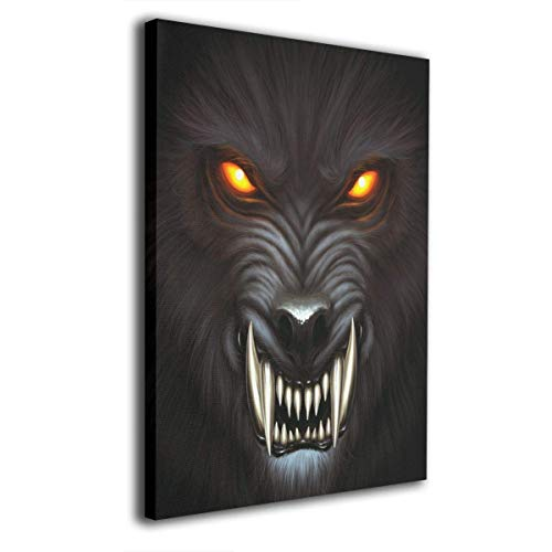 Harperson Canvas Wall Art Prints Angry Werewolf Face Photo Paintings Contemporary Decorative Artwork for Living Room Wall Decor and Home Decor Framed Ready to Hang 16x20inch ()
