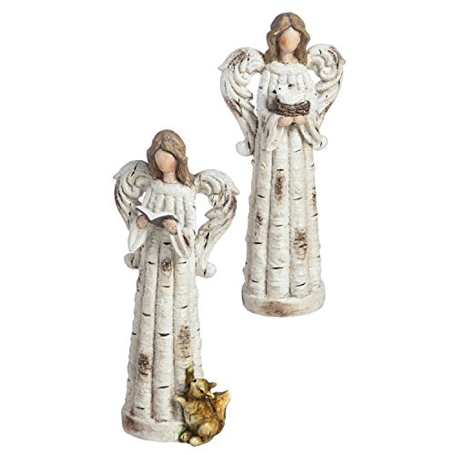 Statue Garden Finial Outdoor (New Creative Birch Angel Outdoor Safe Garden Statue, Set of 2)