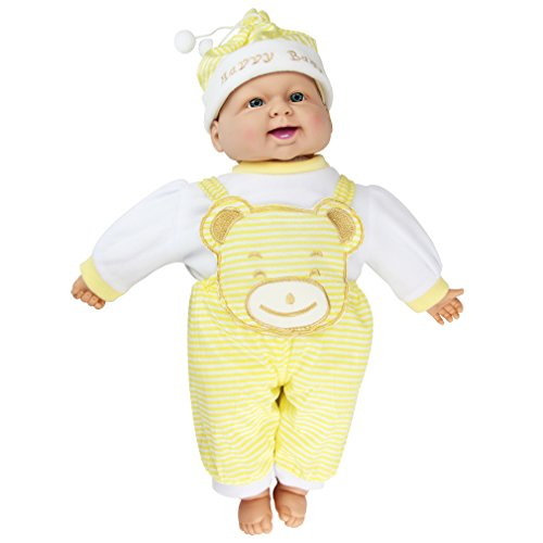 (Meiyie 20-inch Soft Body Baby Doll Smile Cuddle Play Doll,in Yellow Stripe Overall)
