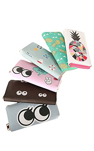 Blue Eye Funny Emoji PU Summer CCFW Sky Clutch Leather Wallet Pattern qzZwRw5