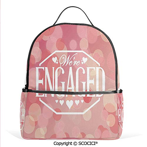 - Hot Sale Backpack outdoor travel Engagement Party cards with Blurry Abstract Circles,Salmon Pink and White,With Water Bottle Pockets