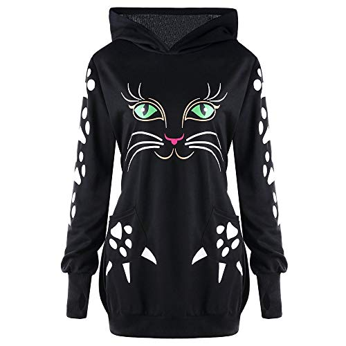 (ZYooh Clearance Womens Plus Size Sweatshirt Cute Cat Print Hoodie Blouse with Ears Hooded Pullover Tops(Black,2XL))