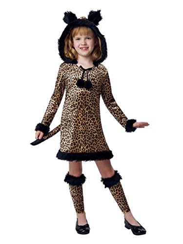 Girls Brown Witty Leopard Costume Cat Dress & Legwarmers Medium (Cat Halloween Costumes Walmart)