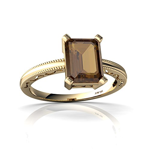 [14kt Yellow Gold Smoky Quartz 8x6mm Emerald_Cut Milgrain Scroll Ring - Size 8] (Emerald Cut Smoky Quartz Ring)