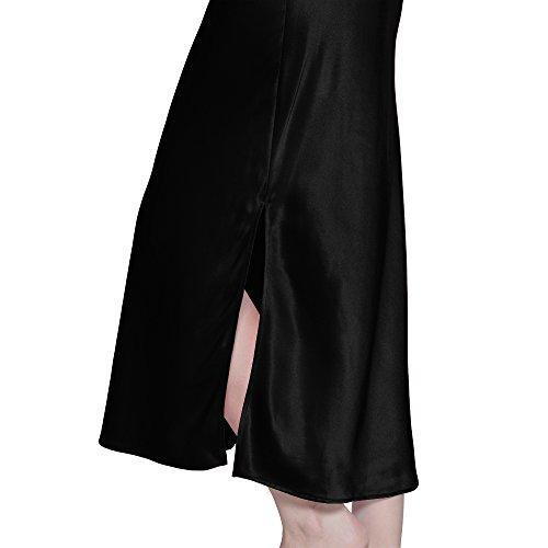 Camicia 22 Donna Completa Seta Da Con Pura Notte Di Nero Lunghezza Momme LILYSILK Di dwAIxzd