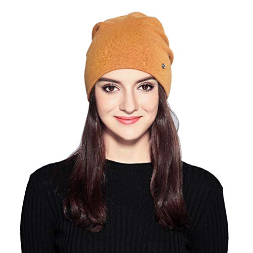 (MOOKZZ Winter Knit Beanie Women Slouchy Hat, Double Layer Thick Wool Fleece Skull Ski Cap)