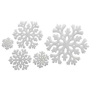 Perucci Sponge Snow Flakes Decoration, 5 Pieces, White - XM2015-236