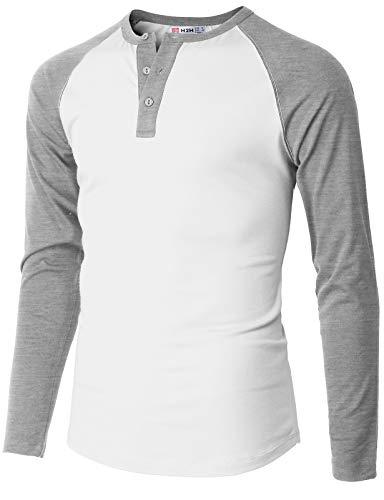 H2H Mens Casual Slim Fit Henley T-Shirts Raglan Baseball Long Sleeve Ivory US S/Asia M (CMTTL116)
