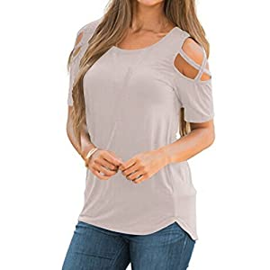 FarJing Hot Sale Women Summer Short Sleeve Strappy Cold Shoulder T-Shirt Tops Blouses (S,Gray )