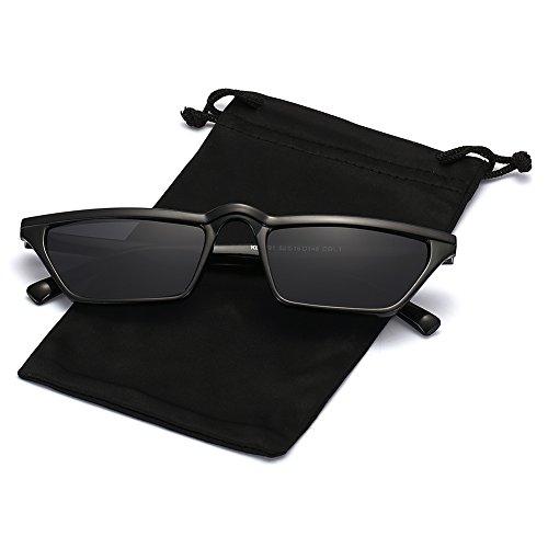 Q EYE Cateye Sunglasses Square Small Retro Vintage Mod Flat Lens Shades for Women for Men, Slender Square Sunglasses, Black Frame and Grey Lens