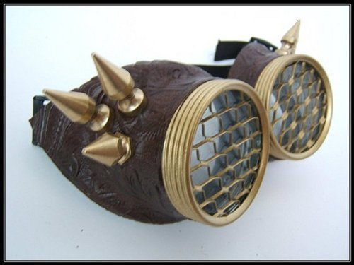 Steampunk goggles - honeycomb brass wing spikes