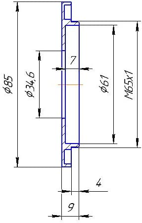 Wide 34.6mm bore to M65x1 Male Thread Adapter for shutters