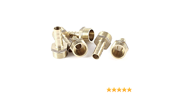16mm Thread x 8mm Dia Tubing Brass Hose Fitting Connector Coupler 6pcs