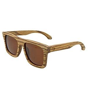 Wood Polarized Wayfarer Sunglasses UV400 Protection Handmade Zebrawood Unisex Retro Frame