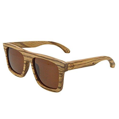 Wood Polarized Wayfarer Sunglasses TAC UV400 Protection Handmade Zebrawood Unisex Retro - Sunglasses K Style