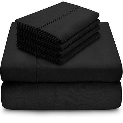 Bare Home 5 Piece 1800 Collection Deep Pocket Bed Sheet Set - Twin Extra Long - Ultra-Soft Hypoallergenic - 2 Extra Pillowcases (Twin XL, Black)