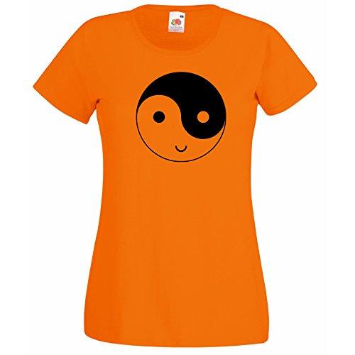 Sourire Gratuit shirt Cadeau Super Décalque Yingyang Éthique Yang Modèle Orange Yin Premium The Et Fruit T Femmes Symbole Loom Heureux Drôle Of Avec Visage Rdqw4a14