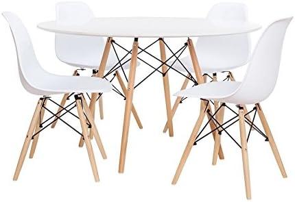 Noorsk Design Conjunto de Mesa 100 + 4 sillas Tower