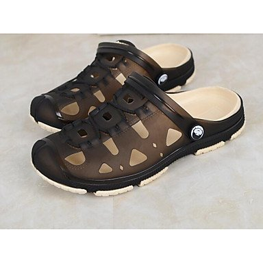 Los hombres sandalias zapatos agujero Confort Casual de resorte de goma plana gris Café Azul,Gris Gray