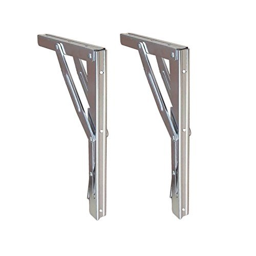 Folding Shelf Brackets - Heavy Duty Bench Table Folding Shelf or Bracket, Max. Load 550lbs ( long release handle), (Sold In Pairs) (Heavy Steel Wall Bracket)