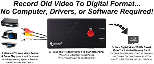 ClearClick Video Capture Stick - USB Video Grabber Device To Record From VCR, VHS Tapes, Hi8, Camcorder, DVD, More by ClearClick (Image #1)