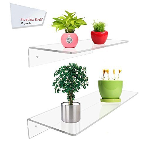Display4top 2 Pack of Clear Acrylic Floating Shelf Wall Mounted Display Organizer (12×6'' 16×6'') by Display4top