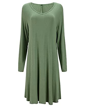 Tandisk Women's Long Sleeve Shirt Casual Loose Swing Dress Army Green S