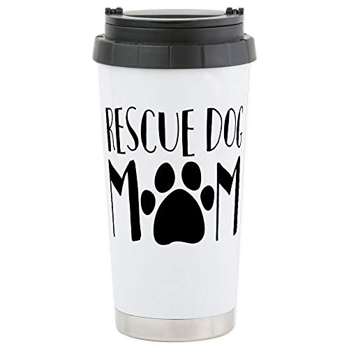 CafePress Rescue Dog Mom Stainless Steel Travel Mug, Insulated 16 oz. Coffee Tumbler