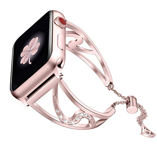 Secbolt Bling Bands Compatible Apple Watch Band 38mm 40mm iwatch Series 4/3/2/1, Stainless Steel Dressy Jewelry Diamond Bracelet Bangle Wristband Women, Rose Gold