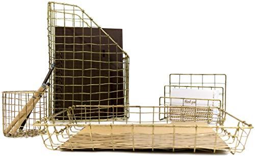 Blu Monaco Office Supplies Antiqued Brass Gold Desk Accessories-4 Piece Wire Desk Organizer Set-Mail Sorter-Letter Tray-Pen Cup-Magazine Holder-Rustic Vintage Gold Brass Wire Office Organizer ()